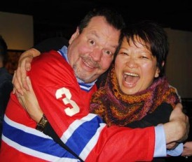 "Judy Wark (right) flew in from Calgary to attend the fundraiser. Another friend brought Andy Frank (left) a Habs jersey as recovery ""lounge wear."" Photo c/o Judy Wark"